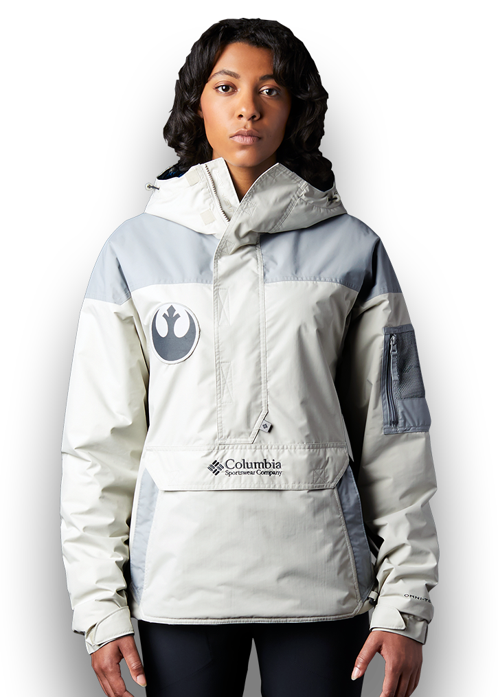 A woman wearing the Challenger jacket.