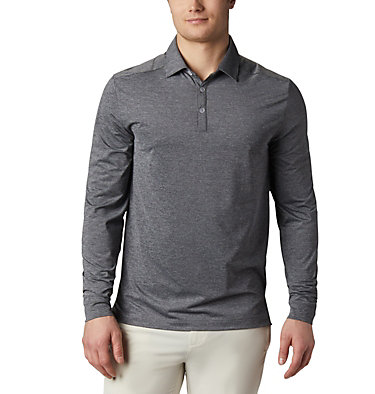 Men's Omni-Wick Pin High  LS Polo Men's Golf Omni Wick Pin High  | 100 | L, Black, front