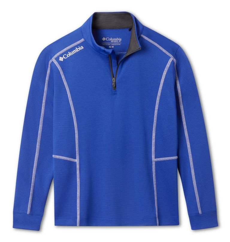 Kids' Shotgun   437   S Kids' Omni-Wick™ Shotgun Quarter Zip Long Sleeve Shirt, Azul, front