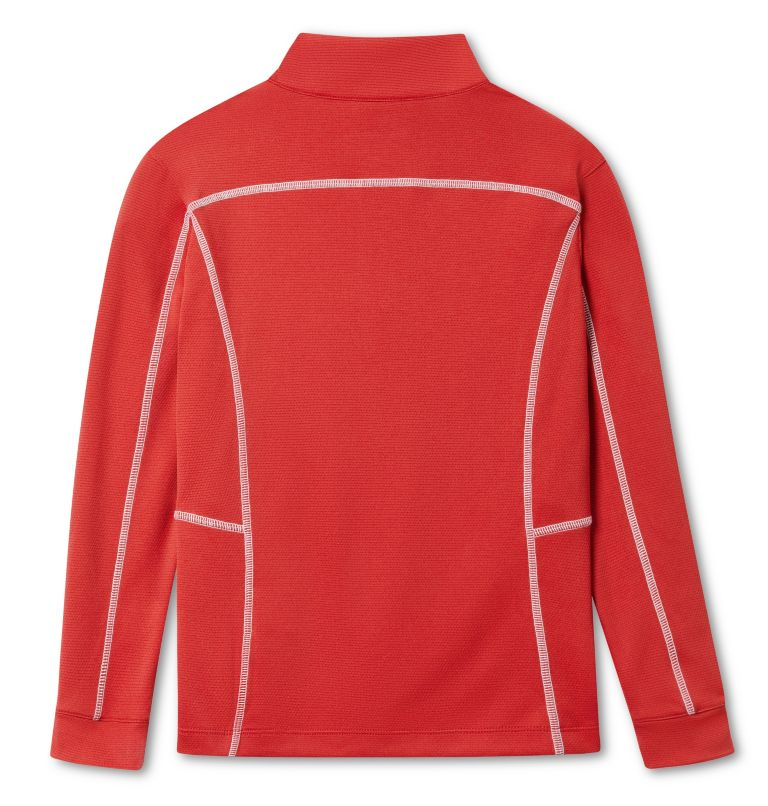 Kids' Shotgun | 610 | S Kids' Omni-Wick™ Shotgun Quarter Zip Long Sleeve Shirt, Intense Red, back