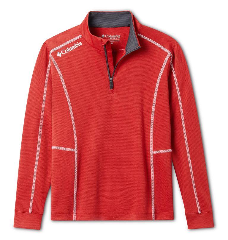 Kids' Shotgun | 610 | S Kids' Omni-Wick™ Shotgun Quarter Zip Long Sleeve Shirt, Intense Red, front