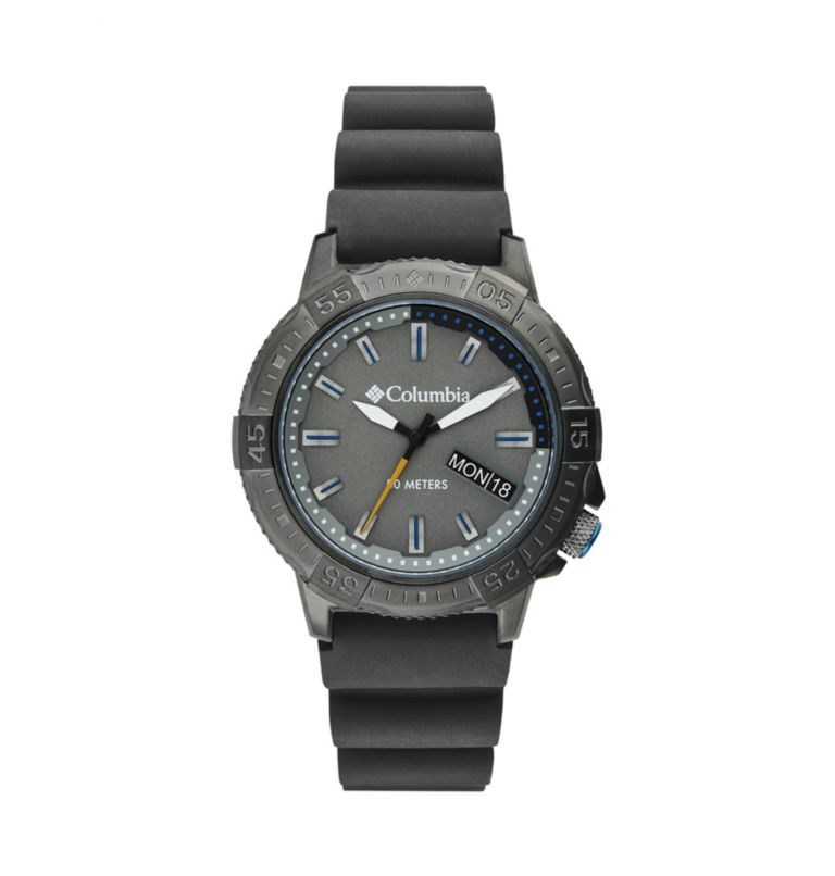 Peak Patrol Black 3-Hand Day Date Black Silicone Watch| 030 | O/S Peak Patrol Three-Hand Date Silicone Watch, Gray, front