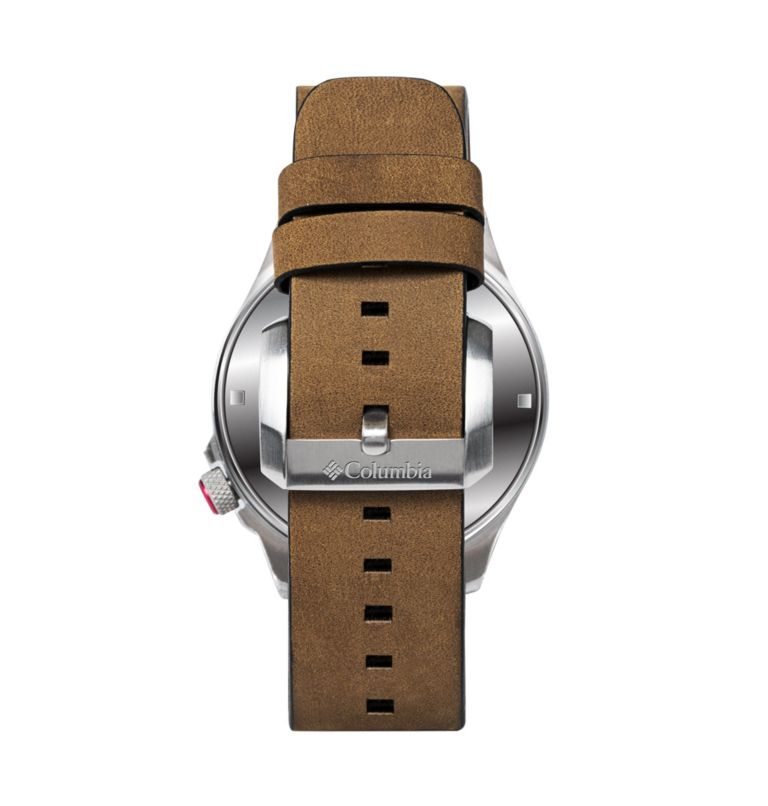 Outbacker Navy 3-Hand Date Saddle Leather Watch| 678 | O/S Canyon Ridge Three-Hand Collegiate Leather Watch - Alabama, Red Velvet, Alabama, back