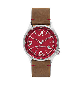 Canyon Ridge Three-Hand Collegiate Leather Watch - Alabama