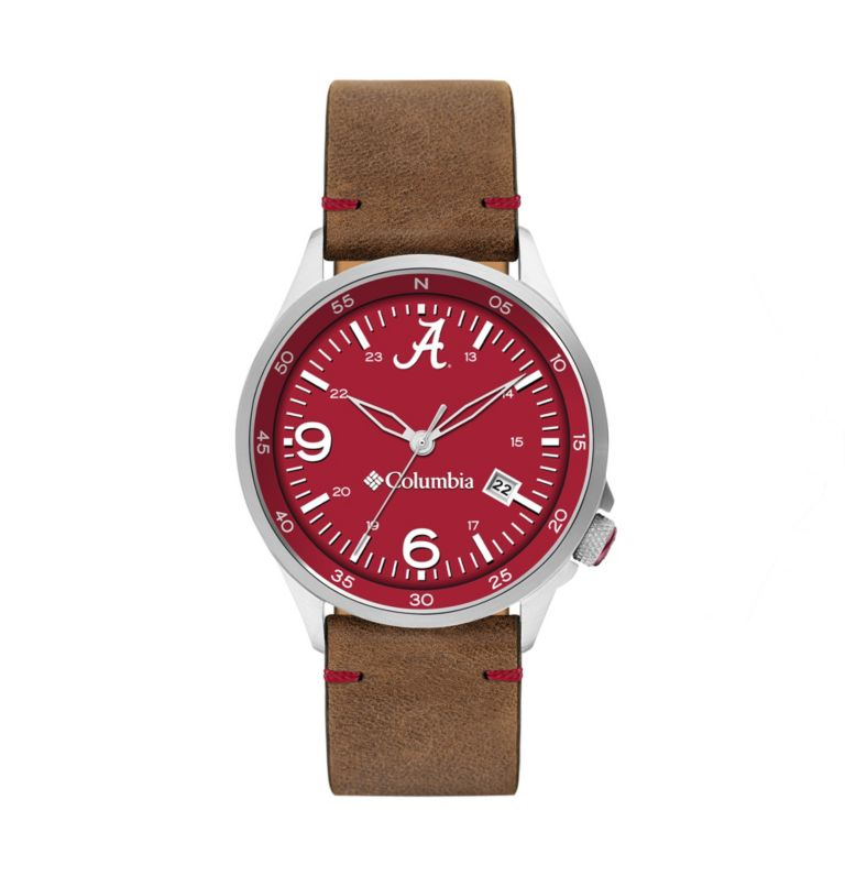 Outbacker Navy 3-Hand Date Saddle Leather Watch| 678 | O/S Canyon Ridge Three-Hand Collegiate Leather Watch - Alabama, Red Velvet, Alabama, front