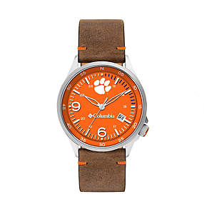 Canyon Ridge Three-Hand Collegiate Leather Watch - Clemson