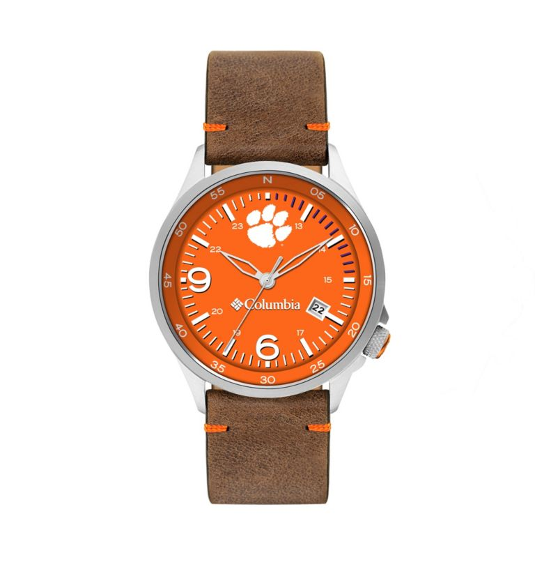 Outbacker Navy 3-Hand Date Saddle Leather Watch| 835 | O/S Canyon Ridge Three-Hand Collegiate Leather Watch - Clemson, Clemson Spark Orange, front