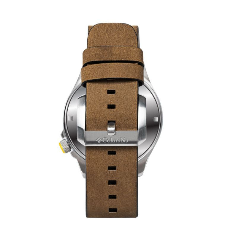 Outbacker Navy 3-Hand Date Saddle Leather Watch| 518 | O/S Canyon Ridge Three-Hand Collegiate Leather Watch - LSU, LSU Vivid Purple, back