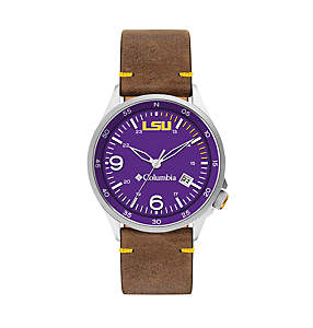 Canyon Ridge Three-Hand Collegiate Leather Watch - LSU