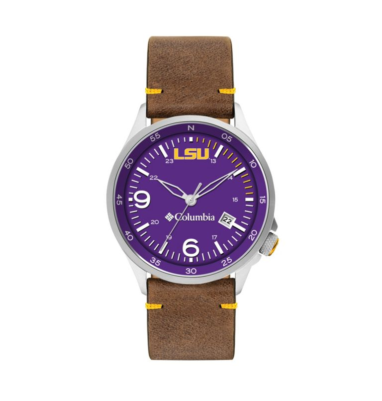 Outbacker Navy 3-Hand Date Saddle Leather Watch| 518 | O/S Canyon Ridge Three-Hand Collegiate Leather Watch - LSU, LSU Vivid Purple, front