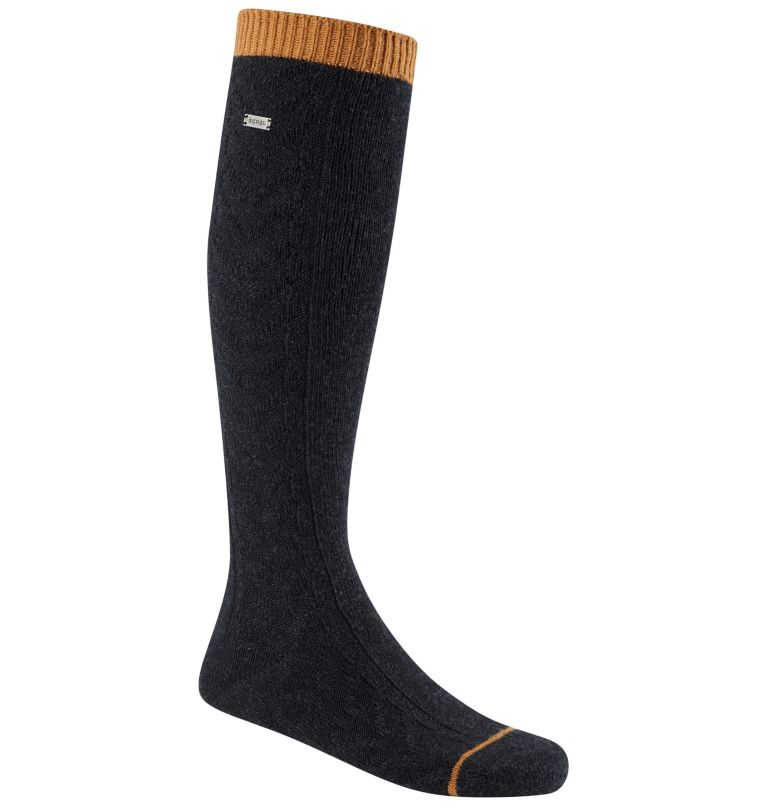 Women's Novelty Cable Wool Kne   010   O/S Women's Novelty Cable Wool Knee-Hi Socks, Black, front