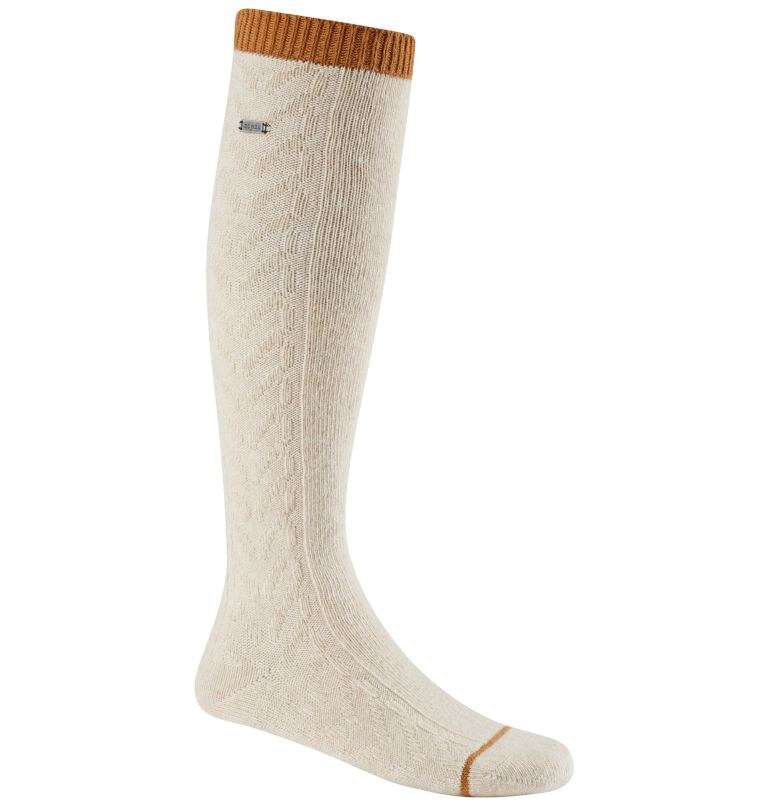 Women's Novelty Cable Wool Kne | 126 | O/S Women's Novelty Cable Wool Knee-Hi Socks, Sea Salt, front