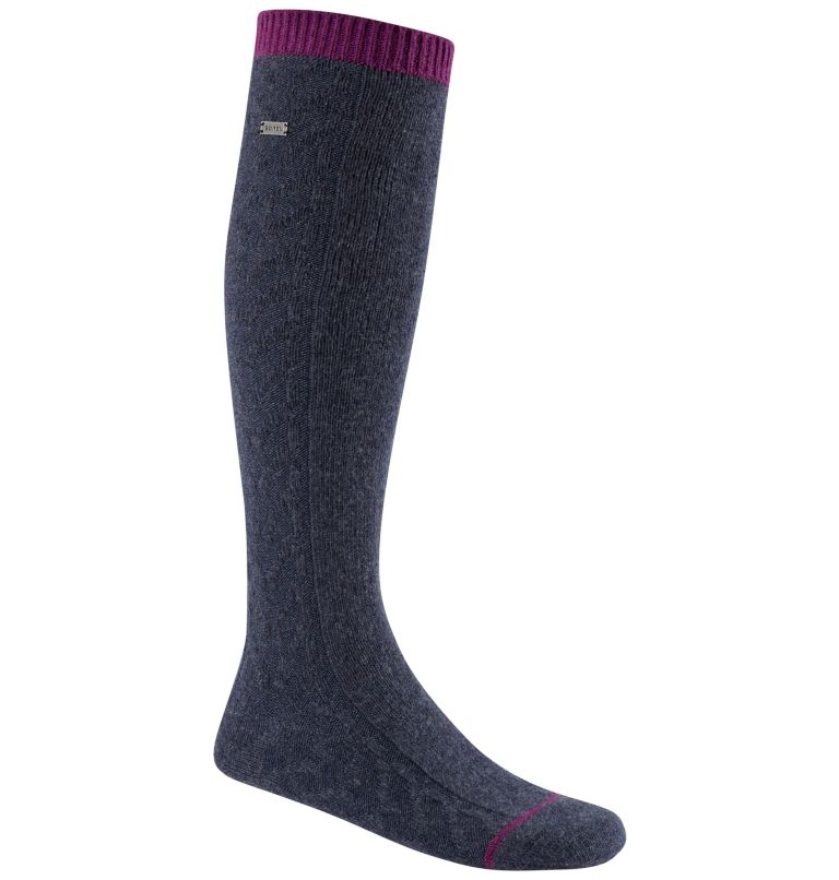 Women's Novelty Cable Wool Kne   425   O/S Women's Novelty Cable Wool Knee-Hi Socks, Navy, front
