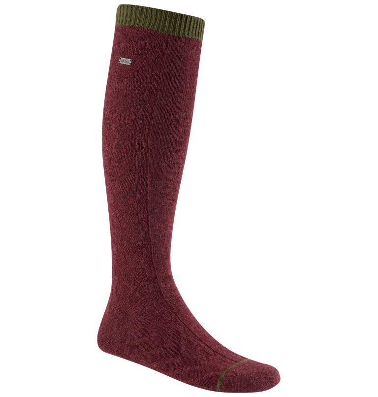 Women's Novelty Cable Wool Kne | 624 | O/S Women's Novelty Cable Wool Knee-Hi Socks, Rich Wine, front