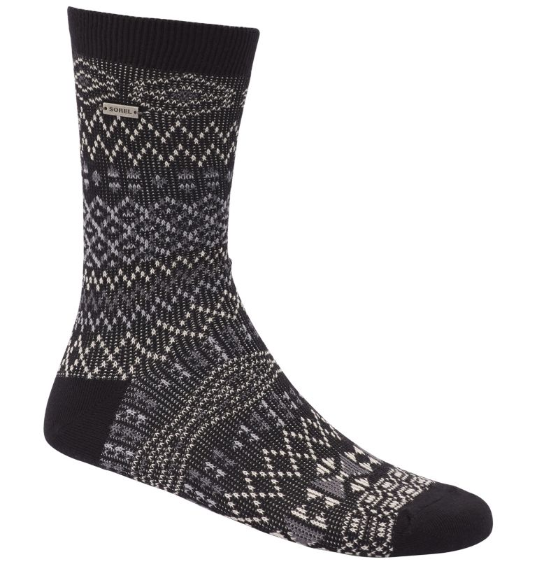 WOMEN'S PATTERN COTTON CREW   010   O/S Women's Cotton Jacquard Pattern Crew Socks, Black