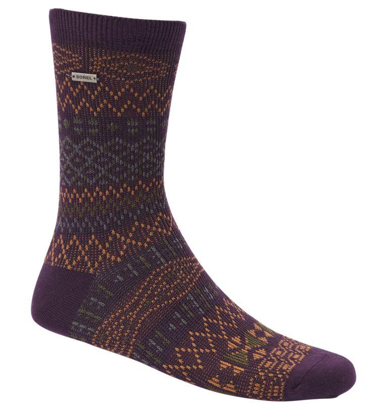 WOMEN'S PATTERN COTTON CREW   520   O/S Women's Cotton Jacquard Pattern Crew Socks, Dark Plum