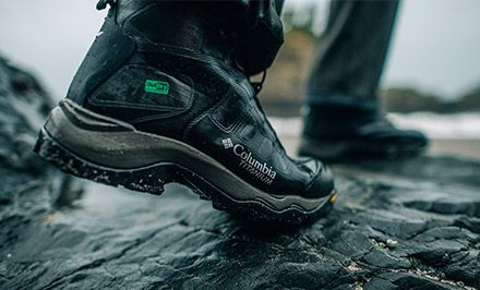 Close-up of OutDry Extreme Eco boots in water.