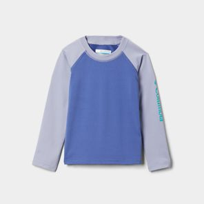 Close-up of a long-sleeve Columbia shirt for kids.