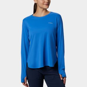 Woman in a long-sleeve Columbia shirt.