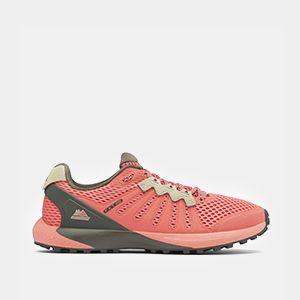 A pink womens trail running shoe.