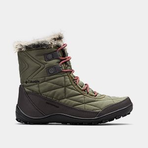 A womens green quilted mid-hi boot.