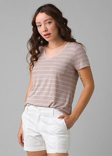 Foundation Short Sleeve V-neck Foundation Short Sleeve V-neck, Sparrow Heather Stripe