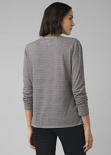 Cozy Up Long Sleeve Tee Cozy Up Long Sleeve Tee, Pebble Grey Heather Stripe