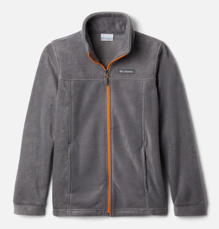 Steens Mt™ II Fleece   024   S Boys' Steens Mountain™ II Fleece Jacket, City Grey, Flame Orange, front