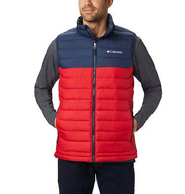 Men's Powder Lite™ Vest Powder Lite™ Vest | 820 | S, Mountain Red, Collegiate Navy, front