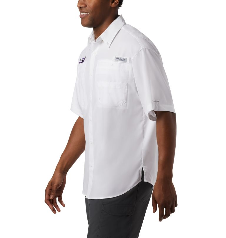CLG Tamiami™ Short Sleeve Shirt | 118 | M Men's Collegiate PFG Tamiami™ Short Sleeve Shirt - LSU, LSU - White, a3