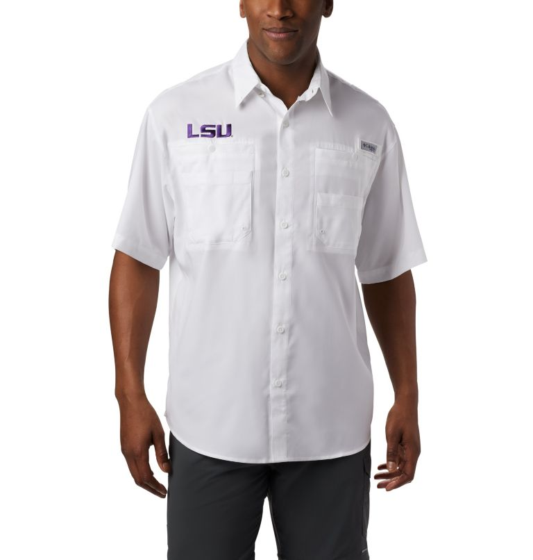 CLG Tamiami™ Short Sleeve Shirt | 118 | M Men's Collegiate PFG Tamiami™ Short Sleeve Shirt - LSU, LSU - White, front