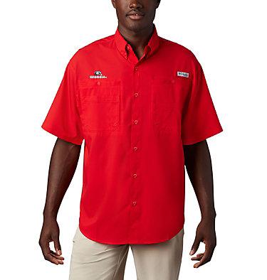 Men's Collegiate PFG Tamiami™ Short Sleeve Shirt - Georgia CLG Tamiami™ Short Sleeve Shirt | 773 | S, UGA - Bright Red, front
