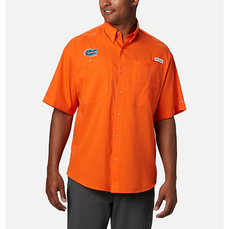 Columbia PFG Womens Medium Tamiami ll Orange UPF40 Short Sleeve Casual Shirt