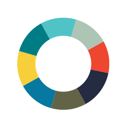 Icon of a circle outline with 8 color sections - yellow, teal, bright blue, faded blue green, red, navy, army green and blue - representing our goal to become a more diverse organization.