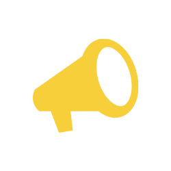 Icon of a yellow loud speaker