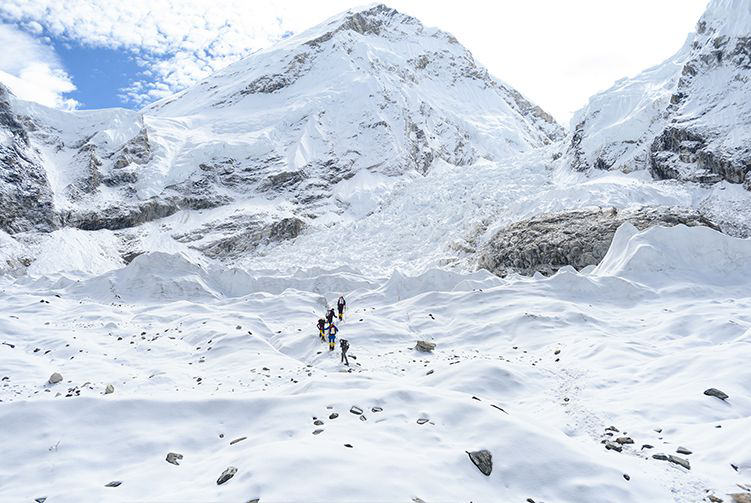Garrett Madison leads a group of Mountaineers, exploring near Everest Base Camp.