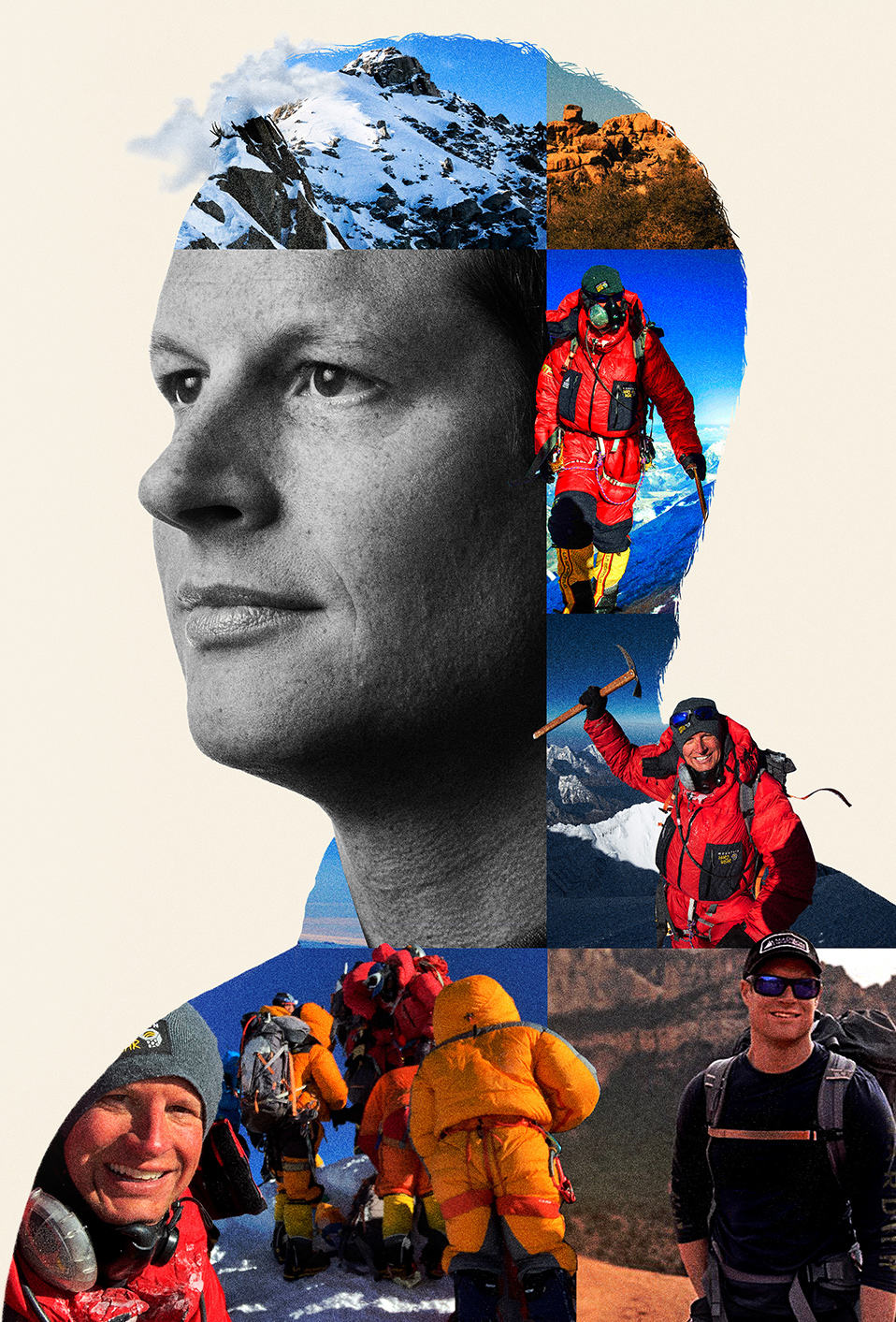 portrait of  Garrett Madison with a compilation of images of Garrett climbing Everest among other peaks.