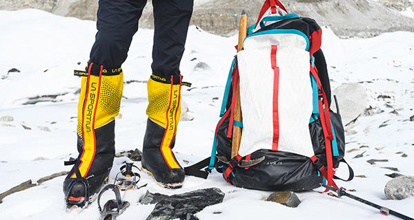 Gear at Everest Base Camp; La Sportiva Mountaineering Boots and the Mountain Hardwear AMG 75 pack.