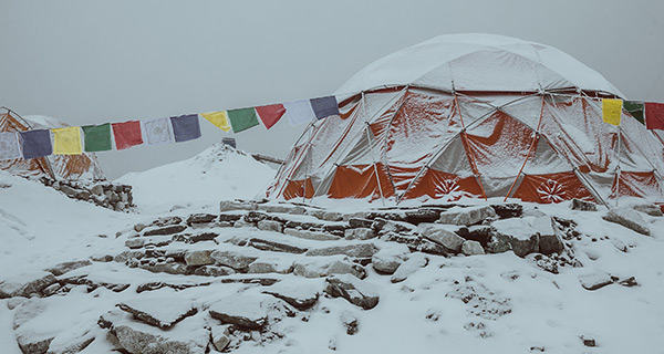 Snowy Everest Base Camp