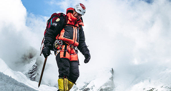 Mountain Hardwear Athlete Garrett Madison in Absolute Zero Suit at Everest Base Camp