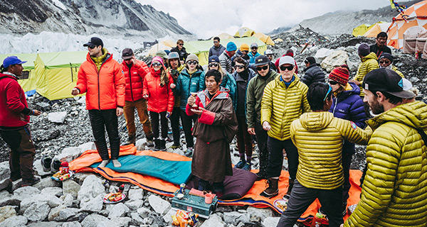 Prayer ceremony for safe passage at Everest Base Camp